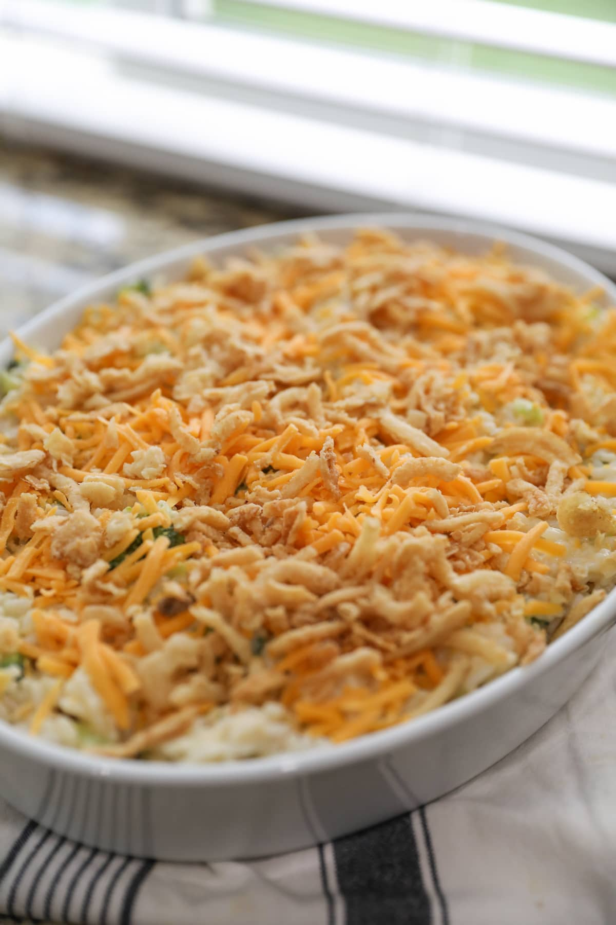 turkey casserole with cheese and french fried onions