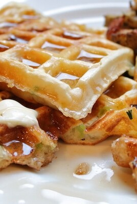 scallion cheddar waffles with hash browns