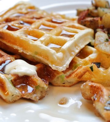 Savory Scallion Cheddar Waffles & Hash-Browns!