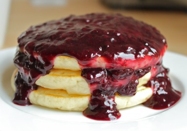 Blackberry Syrup on pancakes