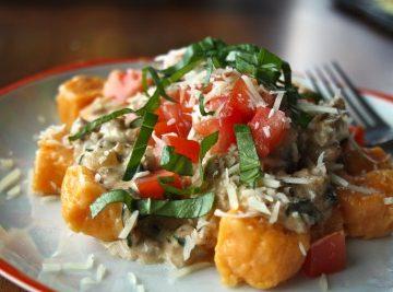 Sweet Potato Gnocchi with Italian Sausage Alfredo