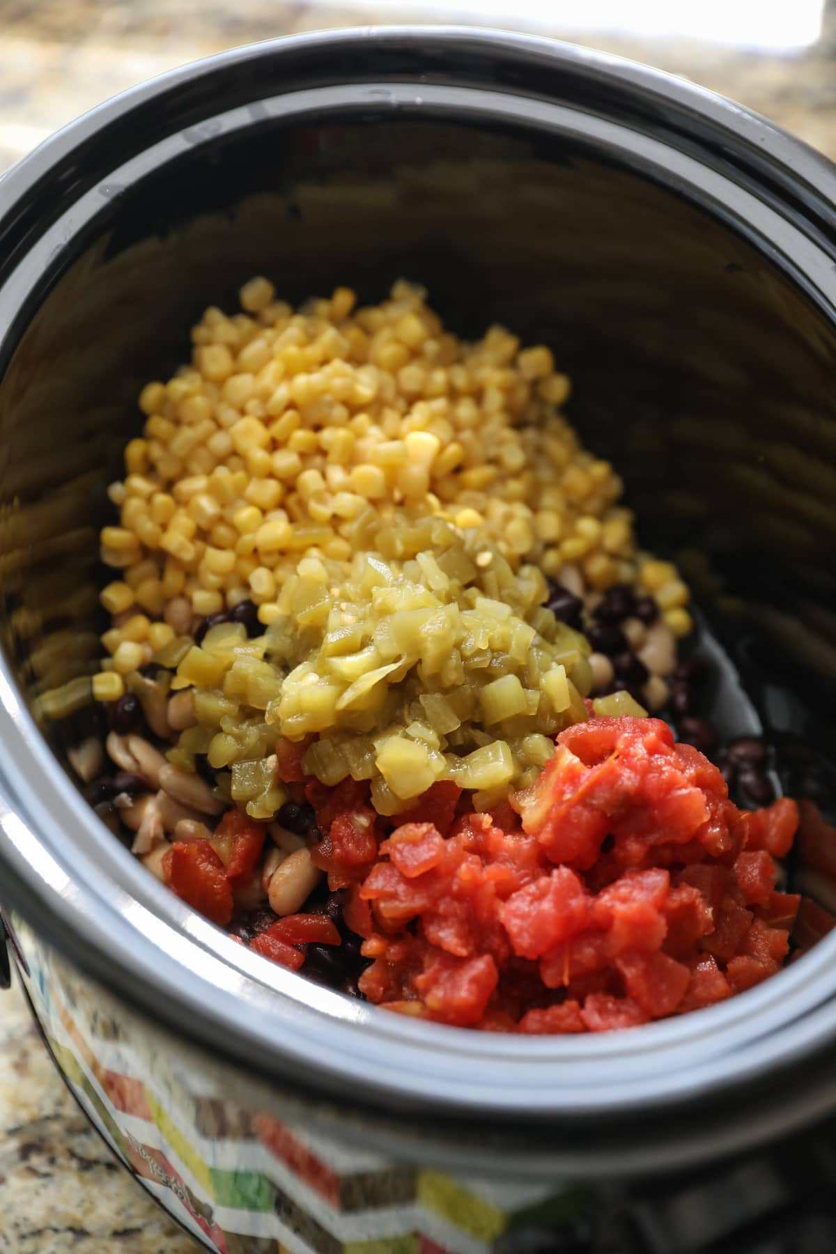 beans, corn, rotel in crockpot