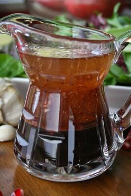 pomegranate balsamic vinaigrette in a pitcher