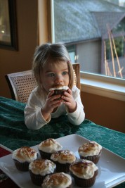 Brooke eating a cupcake