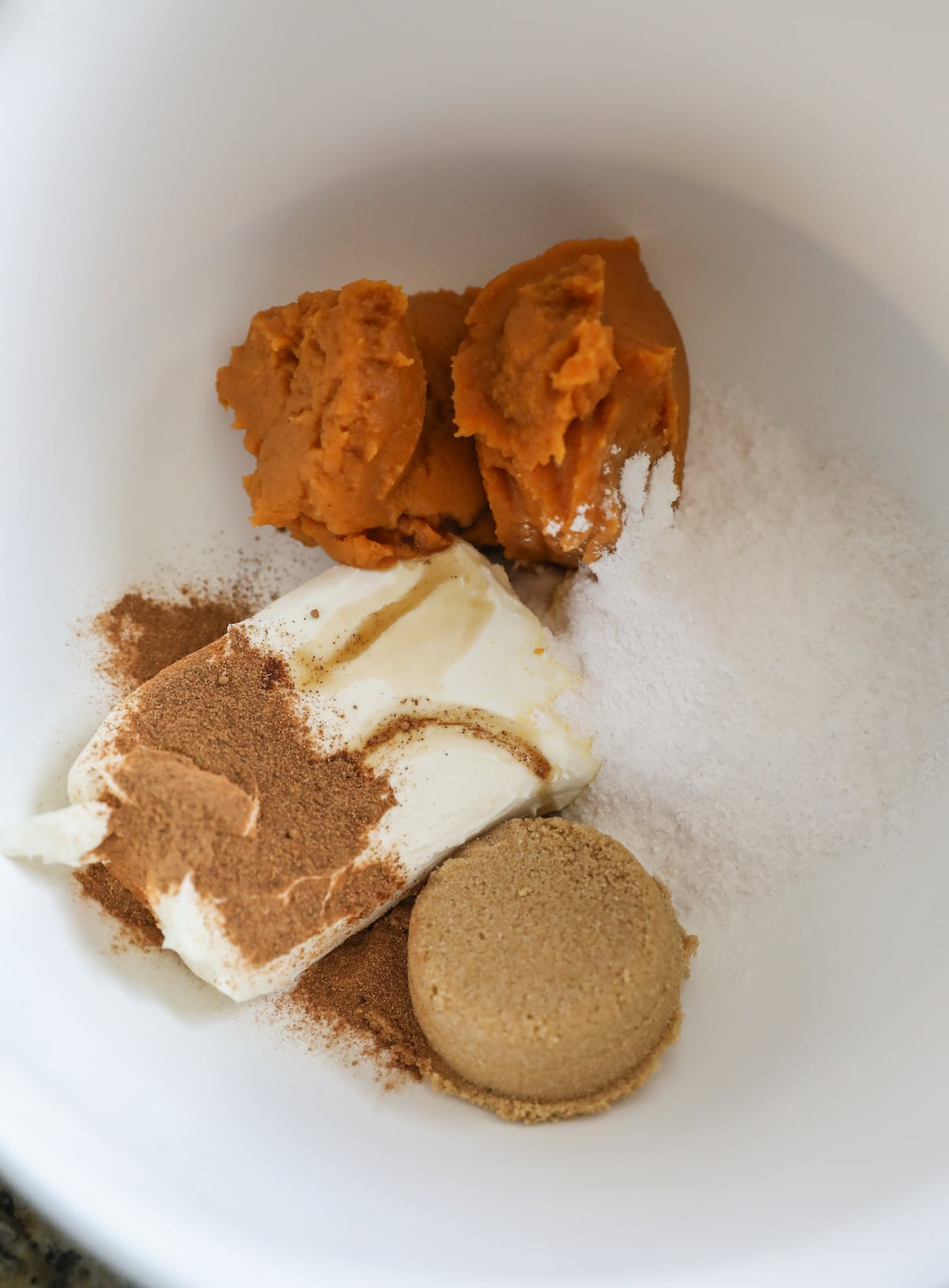 pumpkin dip ingredients in bowl