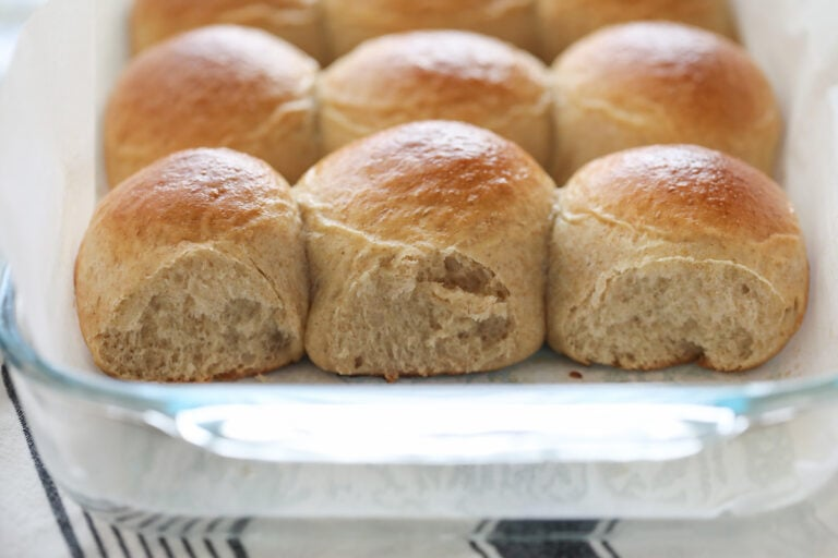 baked whole wheat rolls in pan