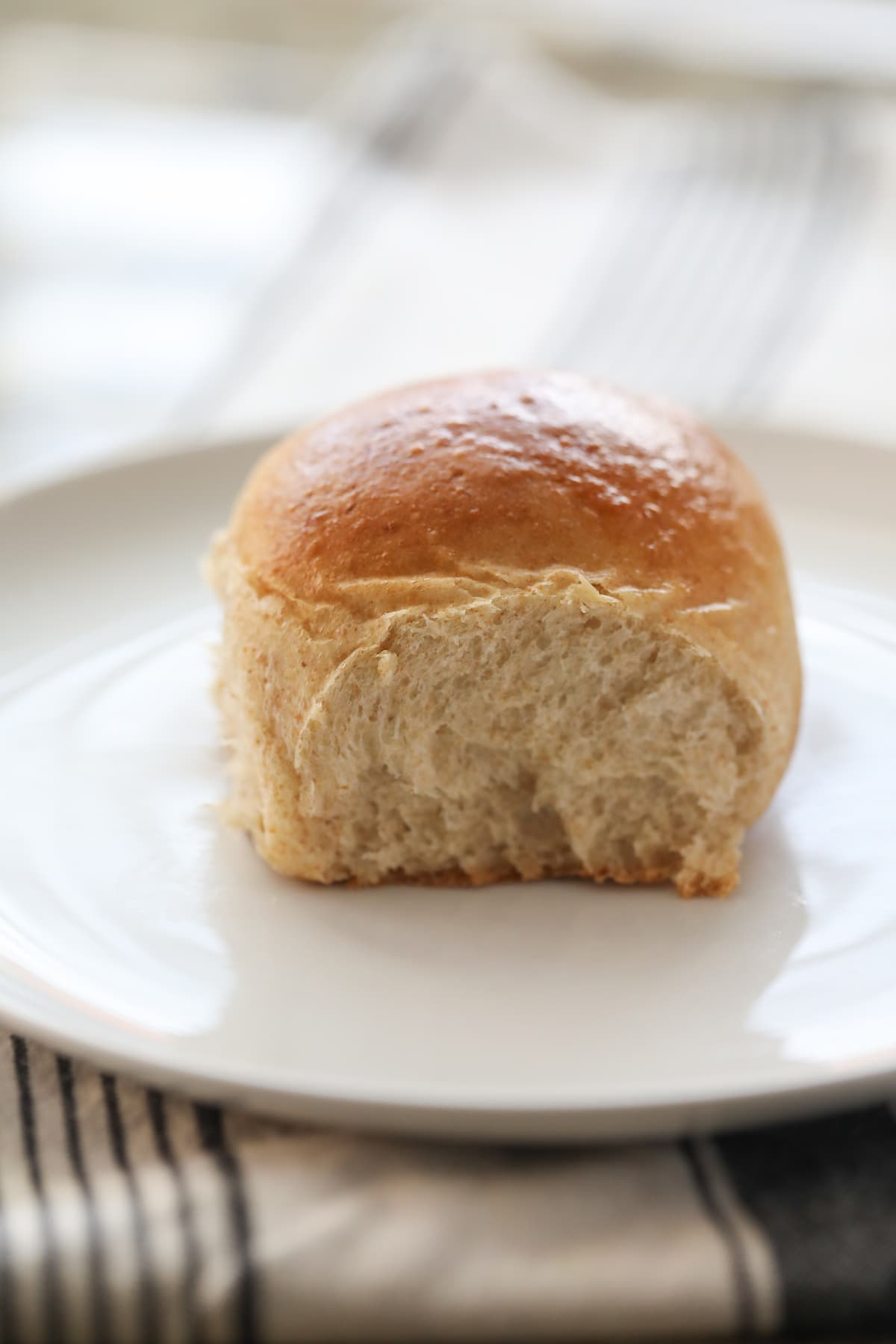 whole wheat roll on white plate