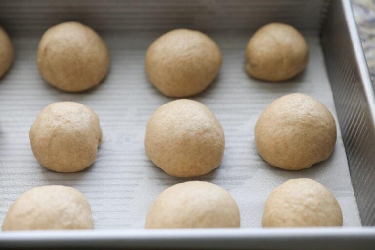 raw rolls in baking pan