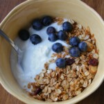 homemade greek yogurt with granola and blueberries