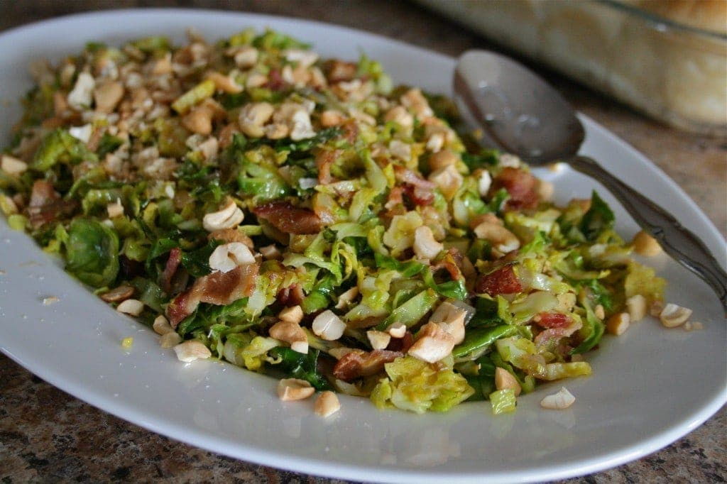 Sauteed Brussel Sprouts with Bacon and Cashews