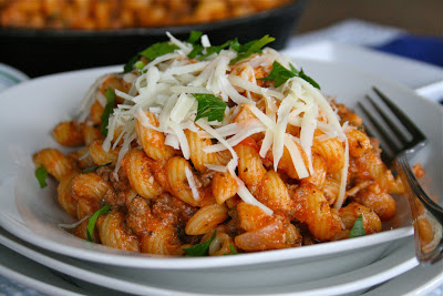 Skillet Lasagna in a white bowl