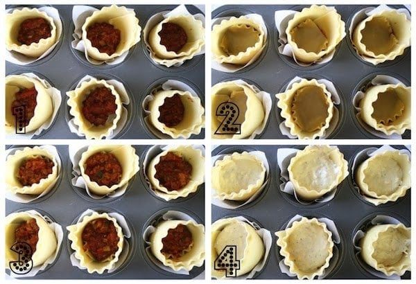 collage showing how to layer lasagna cups
