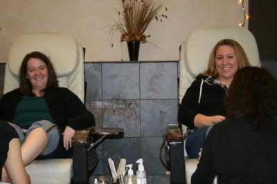 Lauren and friend getting pedicures