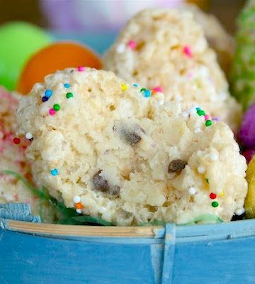 Cookie Dough Filled Rice Krispie Eggs