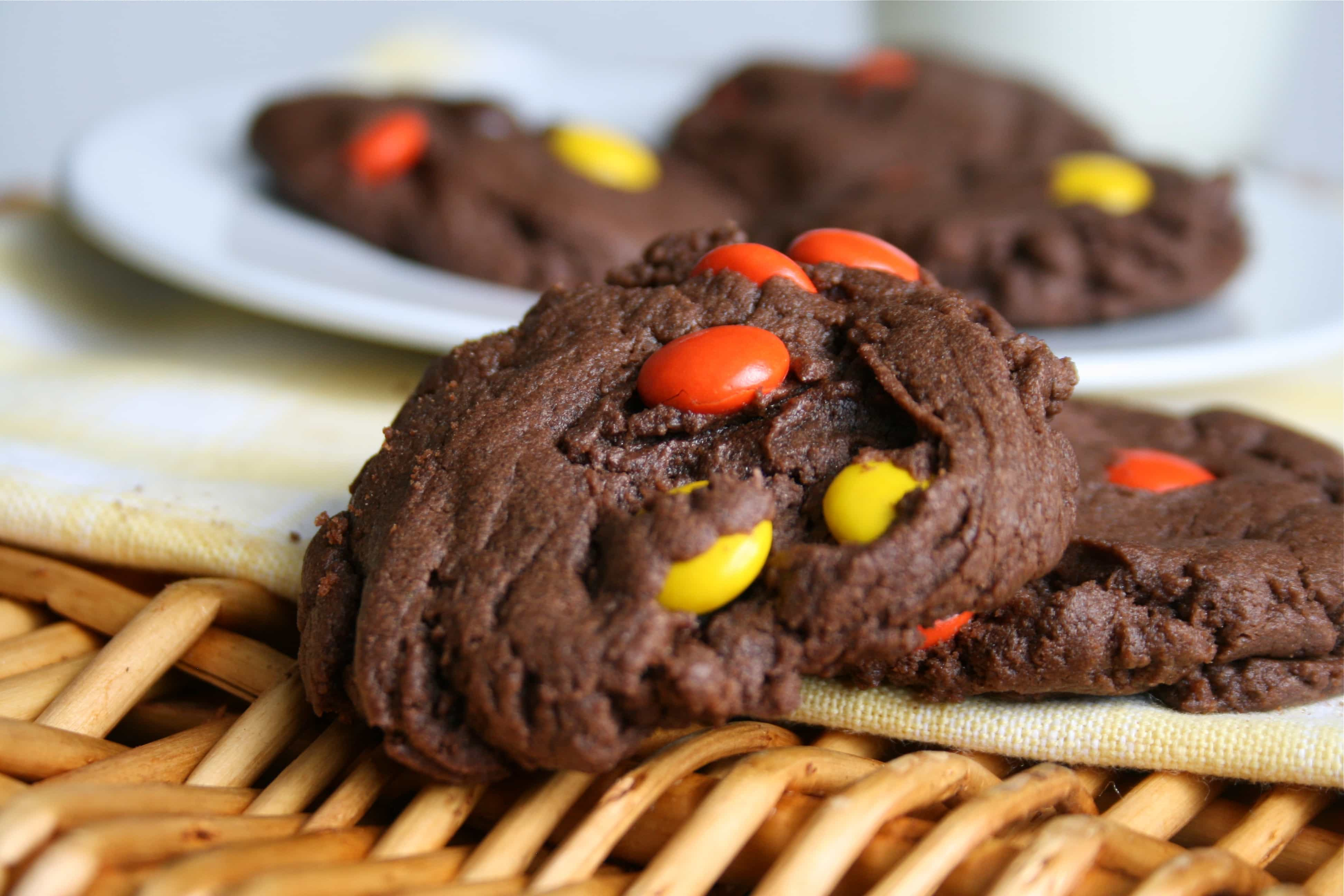 Reese\'s Pieces Double Chocolate Cookies