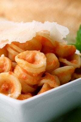 Orecchiette with Roasted Red Pepper Sauce & Parmesan Cheese