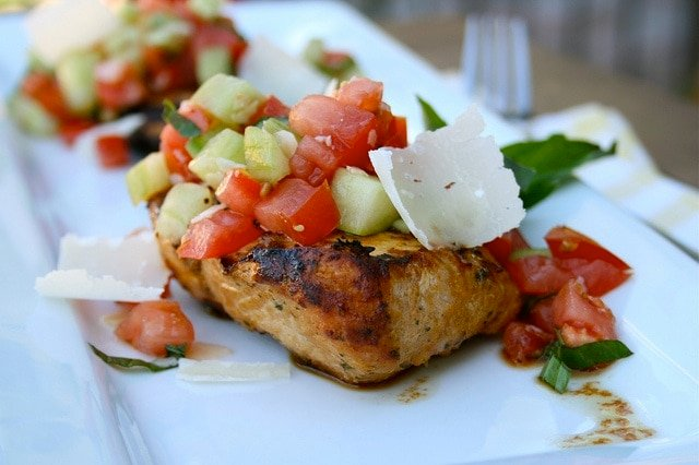 Italian Grilled Chicken with Cucumber Bruschetta