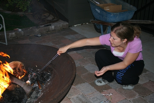 Lauren making smores