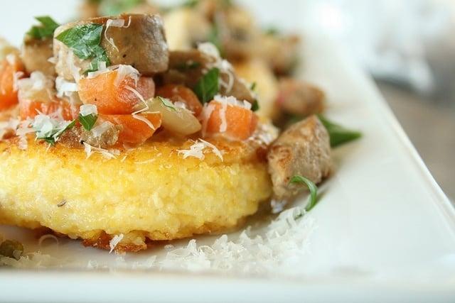 Parmesan Polenta Cakes with Mushroom & Sausage Hash