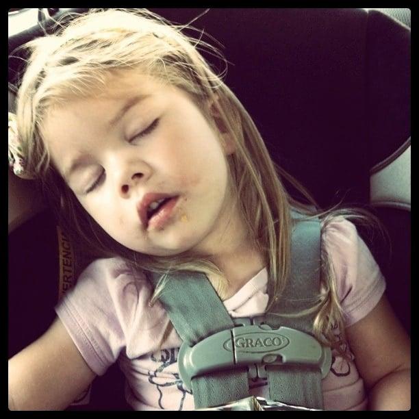 brooke sleeping in a carseat