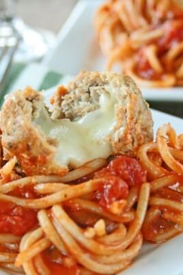 Spaghetti & Mozzarella Stuffed Turkey Meatballs