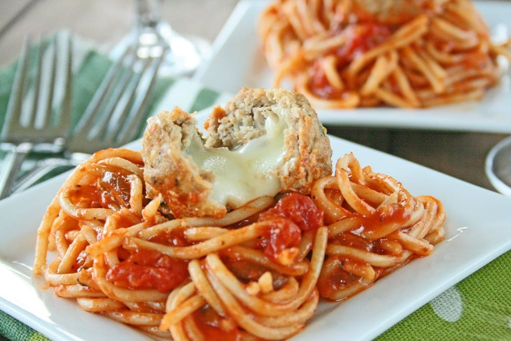 Spaghetti & Mozzarella Stuffed Turkey Meatballs