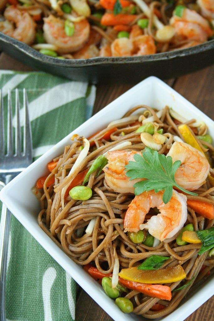 Teriyaki Shrimp Soba Noodle Bowls