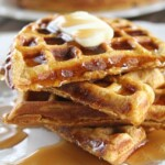 Healthy Pumpkin Waffles with butter and syrup