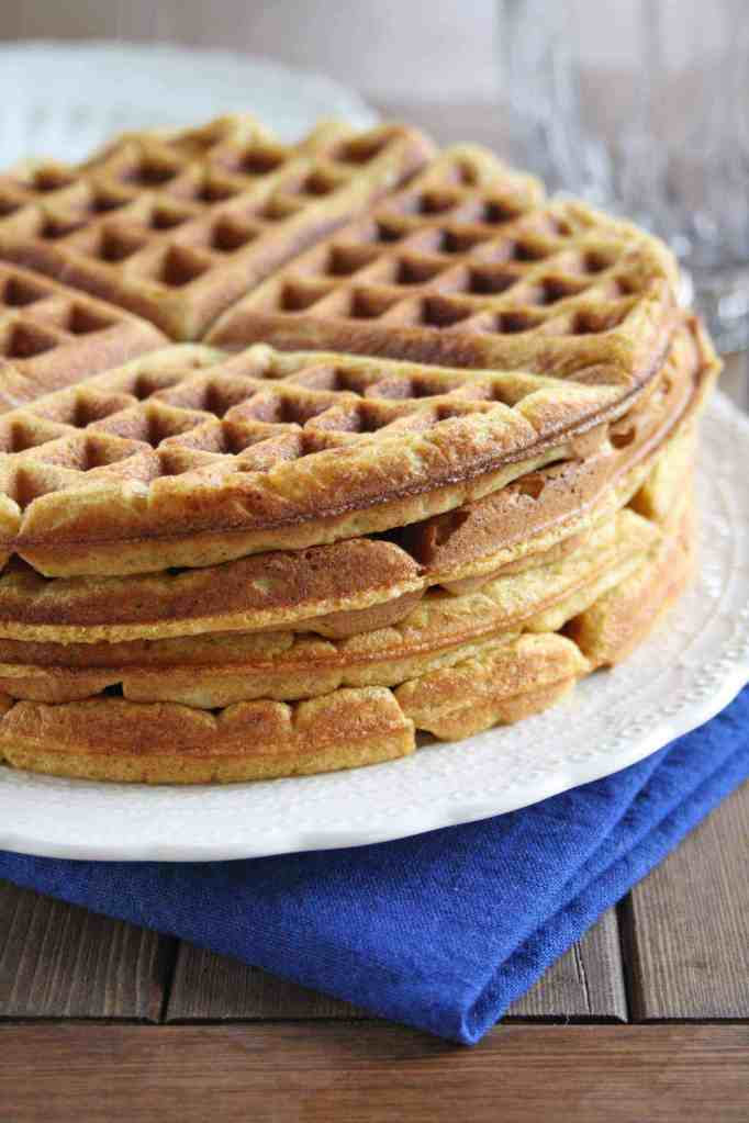 stack of healthy pumpkin waffles on a plate
