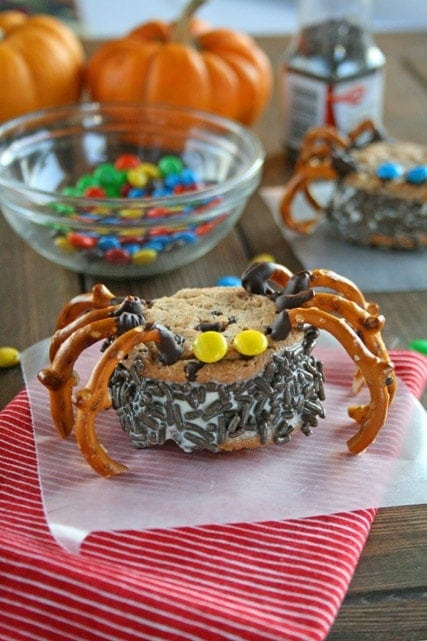 Ice Cream Sandwich decorated as a spider