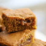 pumpkin blondies stacked together