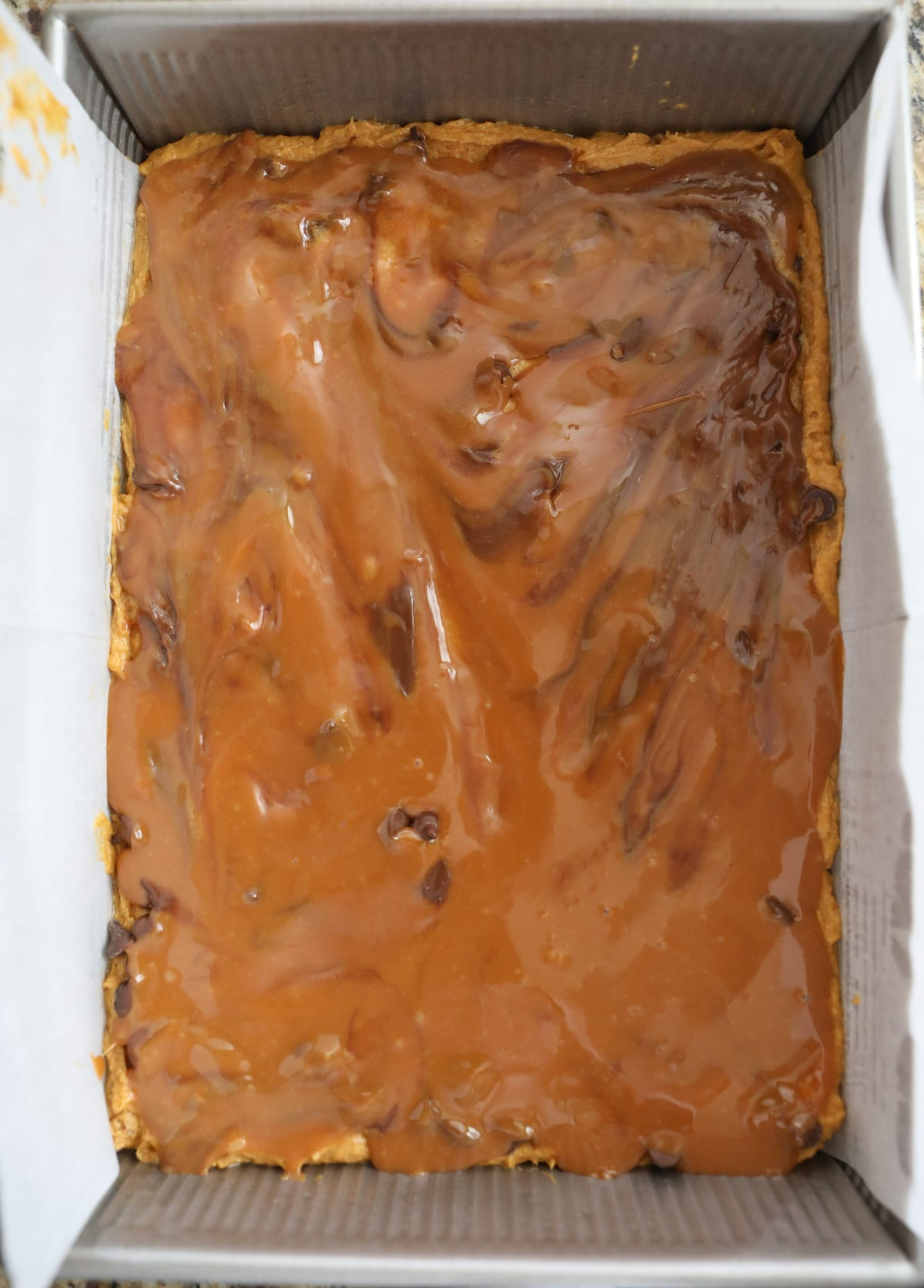 melted caramel layered in blondies