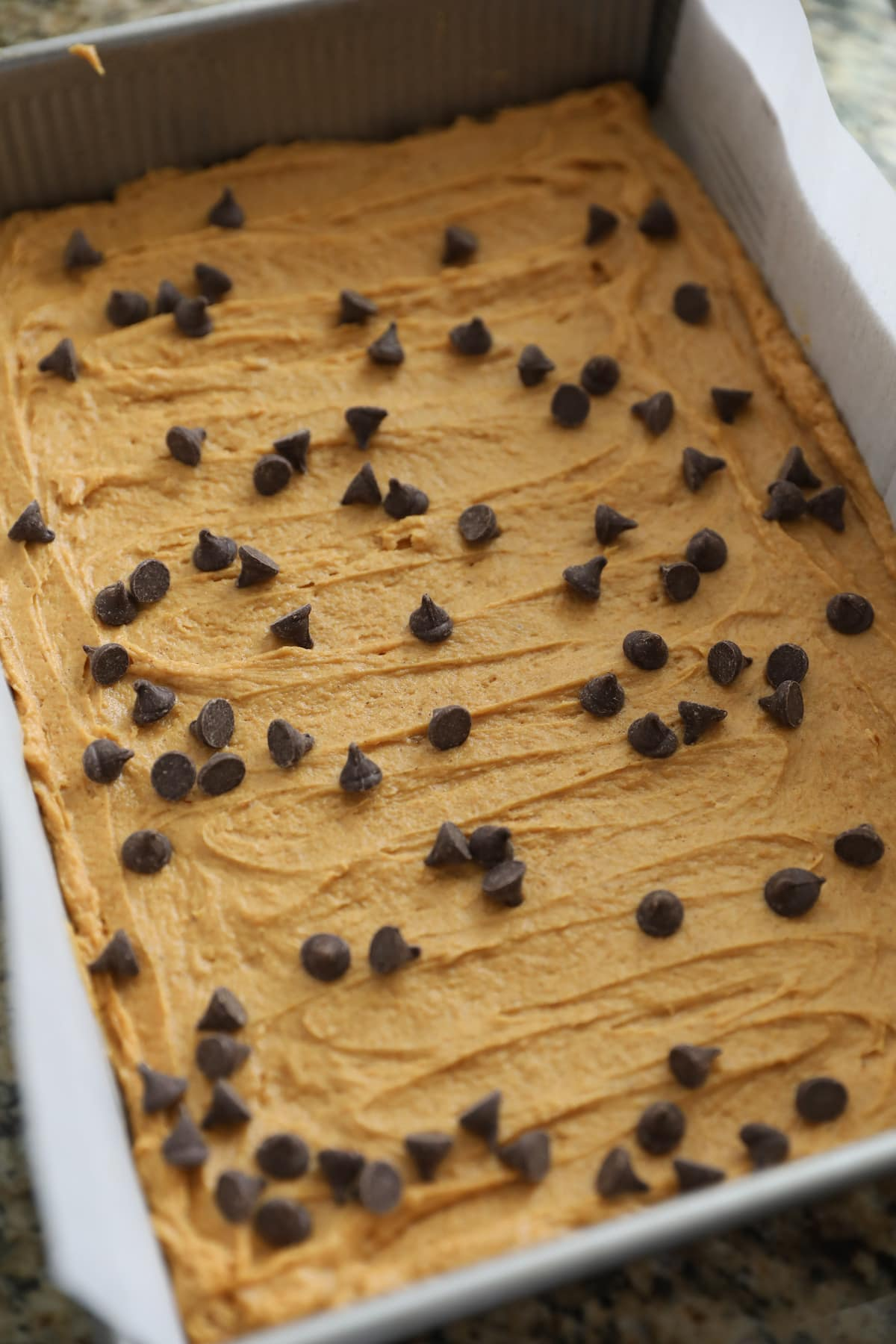 blondie batter with chocolate chips