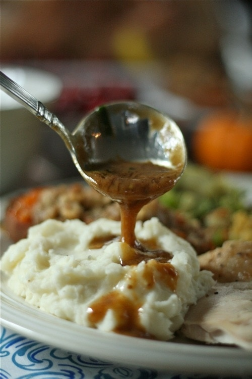 A close up of a plate of food, with Gravy
