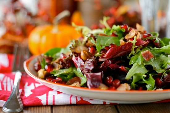 Close up of holiday salad in a bowl