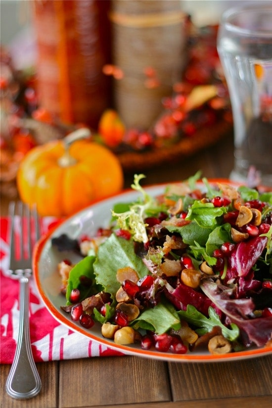 Holiday Salad with Maple Bacon Dressing in a bowl