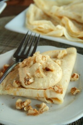 Pumpkin Cream Cheese Topped Cinnamon Vanilla Crepes
