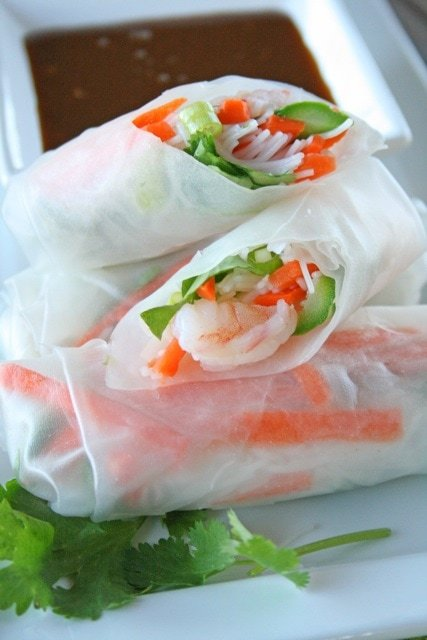 Fresh Spring Rolls Recipe With Peanut Dipping Sauce Lauren S Latest