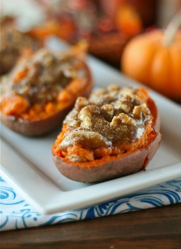 Twice Baked Sweet Potatoes with Walnut Streusel