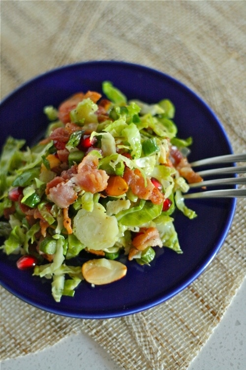 Brussel Sprouts with bacon and other ingredients on a plate