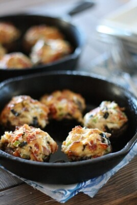 pizza stuffed mushrooms in a skillet