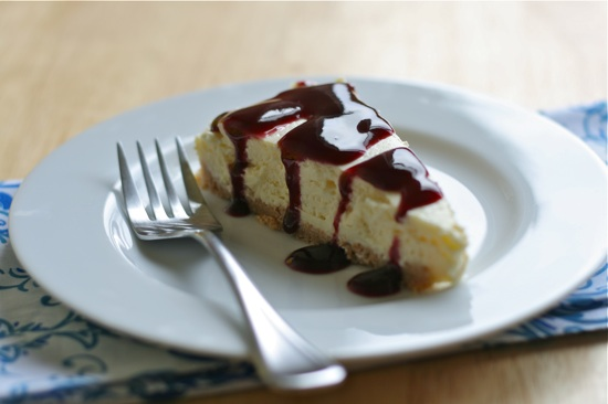 New York Cheesecake with Blackberry Sauce
