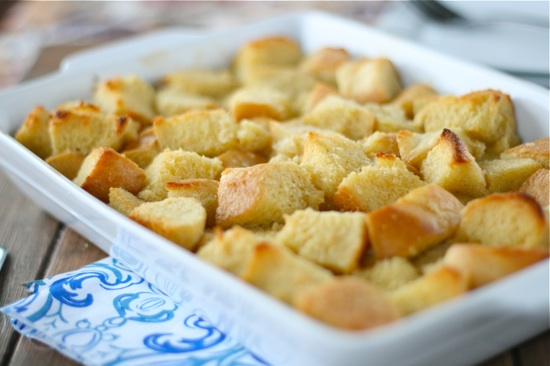 baked cubed bread