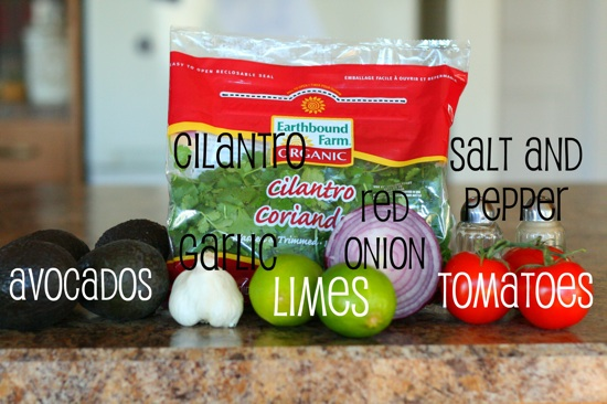 Grilled guacamole ingredients