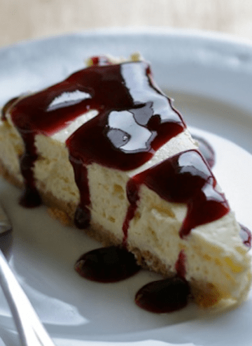 Basic New York Cheesecake with Easy Blackberry Sauce