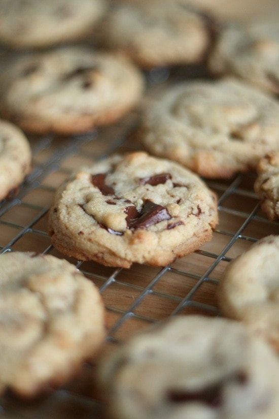 Dark Chocolate Chip Cookies on a cooling wrack