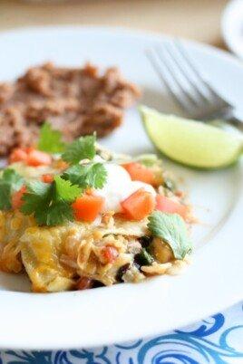 Enchilada Casserole on a white plate