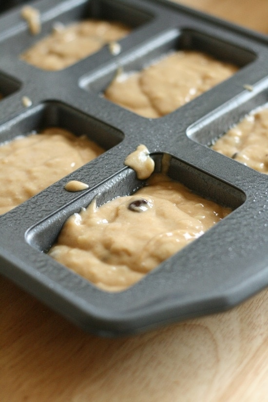 Peanut Butter Banana Chocolate Chip Bread in mini loaf pans