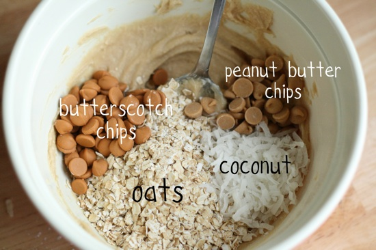 peanut butter chips, butterscotch chips, oats and coconut