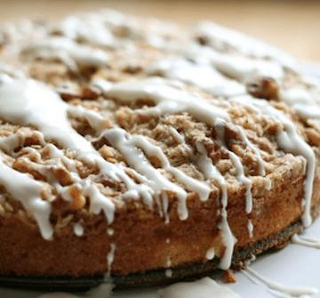 Apple Streusel Cake with Cream Cheese Glaze
